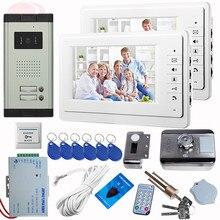 "SUNFLOWERVDP Intercom Door Phone+Rfid Unlock Electronic Lock Video Door 2 Monitor 2 Buttons CCD Camera Video Intercom 7""Screen"