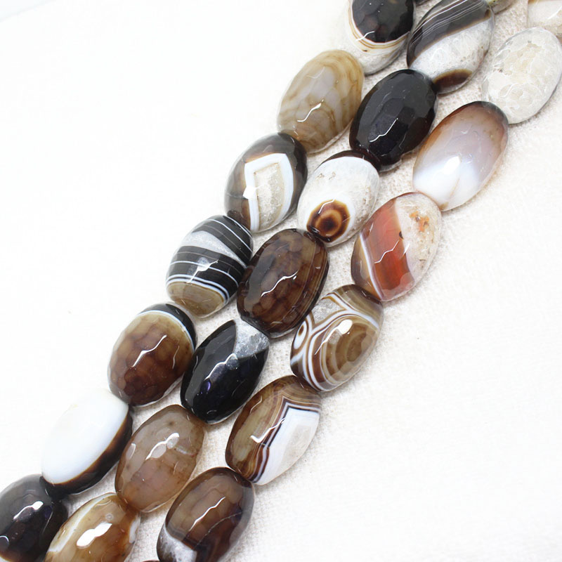 18x27mm Faceted Grey Persian Stripe Agates Stone DIY Oval Drum For Jewelry Making Loose Bead Strand