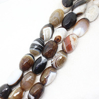 18x27mm Faceted Grey Persian Stripe Agate Stone DIY Oval Drum For Jewelry Making Loose Bead Strand