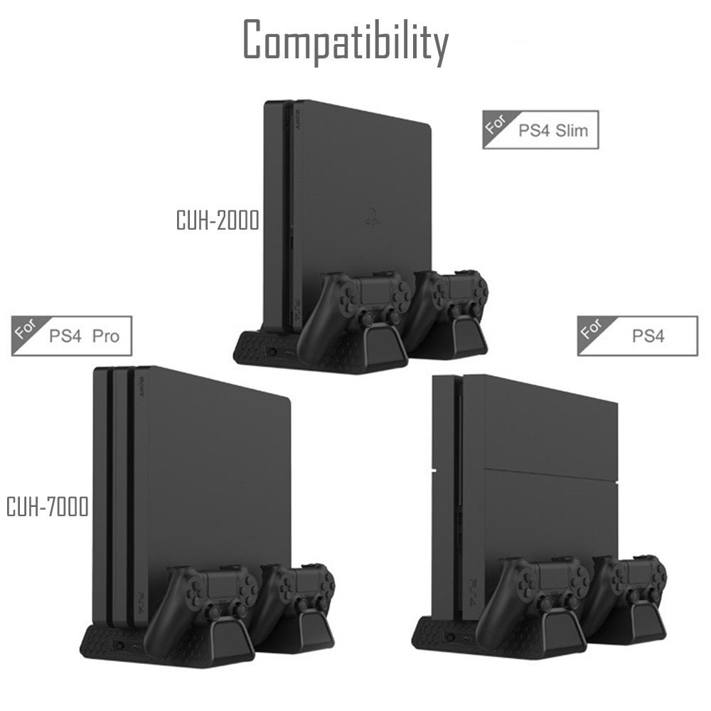 4-in-1 Vertical Charging and Display Stand for PS4 /Pro /Slim - ElecGear 12PCs Games Disc Storage DVD Holder, Dual Charger