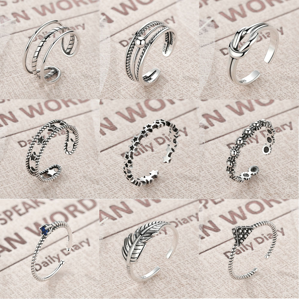 BISAER 100% 925 Sterling Silver Vintage Cross Star Feather Wings Female Finger Rings for Women Sterling Silver Jewelry S925 ...