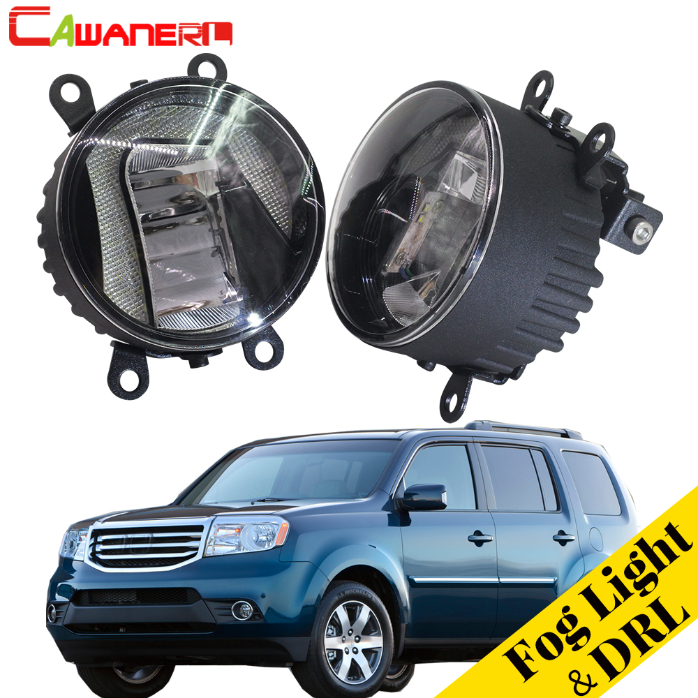 Cawanerl 2 X Car 2in1 LED Fog Light Lamp Daytime Running Light DRL White 5000K 12V Styling For Honda Pilot 3.5L V6 2012-2015