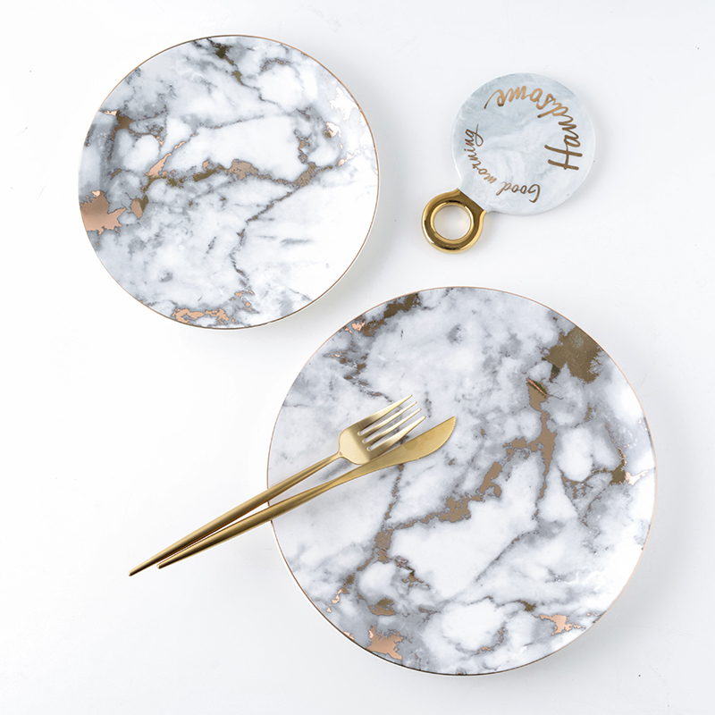 European Style Marble Plates Ceramic Dinner Set Gold Inlay Porcelain Dessert Plate Steak Salad Snack Cake Plates Tableware in Dishes Plates from Home Garden