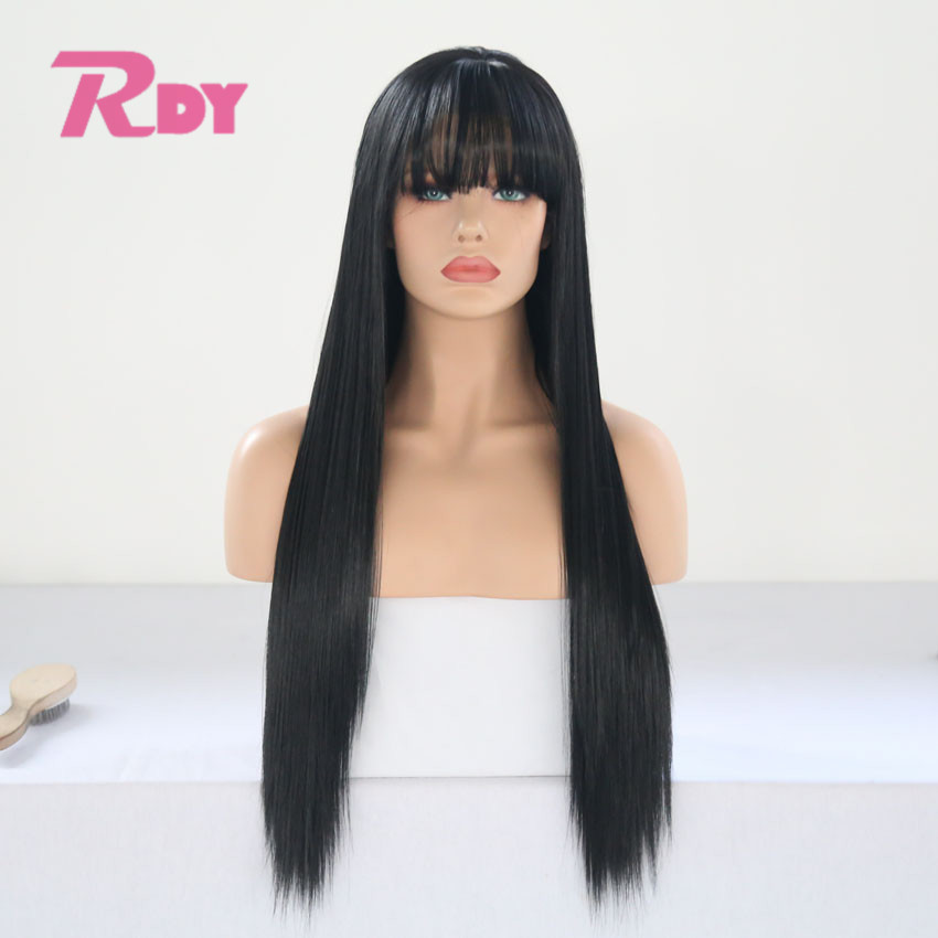 RONGDUOYI Long Black Color Silky Straight Synthetic Lace Front Wig with Bangs Glueless Heat Resistant Fiber Hair Wigs for Women(China)