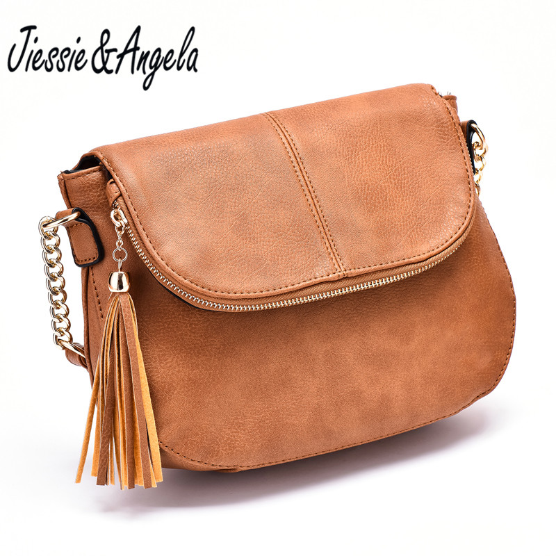 Jiessie&Angela New Famous Brand Women Bag Leather Fashion Lady's Tote Bag Tassel Handbag For Girls Vintage Shoulder Purse jiessie