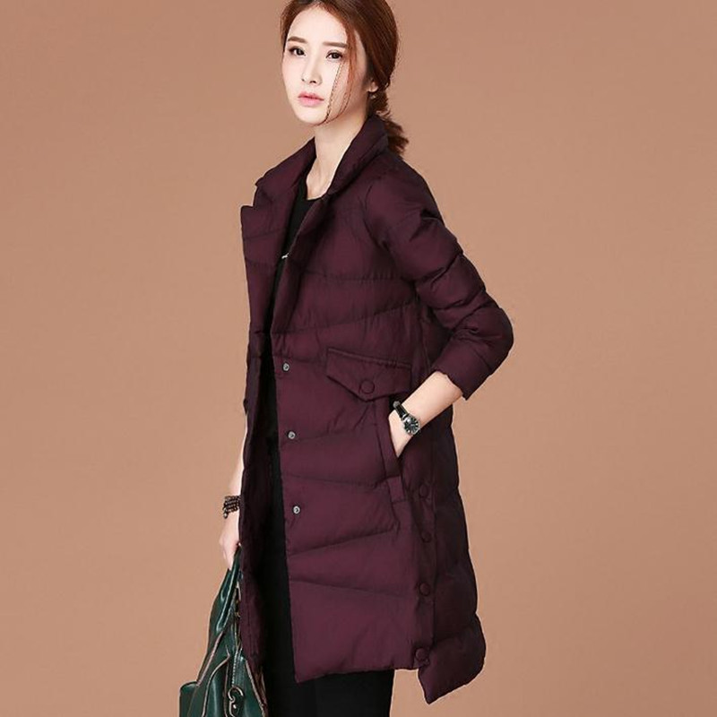 2017 winter new women's clothing Dark purple, dark green In the long section cotton coat Leisure, commute Female Tops sky blue cloud removable hat in the long section of cotton clothing 2017 winter new woman