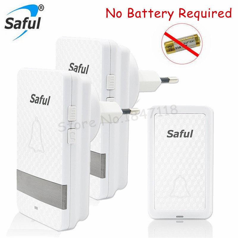 Wholesales Saful Wireless LED Door Bell No Battery Need EU/US Plug Waterproof DoorBell kits 1 Push Doorbells Button+2 Receivers 2 receivers 60 buzzers wireless restaurant buzzer caller table call calling button waiter pager system