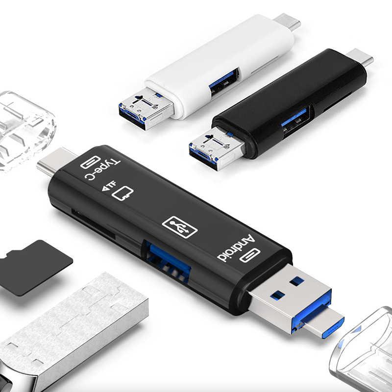 2 لون الكل في 1 قارئ بطاقة Usb عالية السرعة SD TF مايكرو قارئ البطاقات SD نوع C USB C المصغّر USB ذاكرة OTG قارئ بطاقة