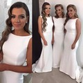 Simple White Satin Bridesmaid Dresses 2017 Mermaid long party dress to wear to a wedding customize robe demoiselle d'honneur