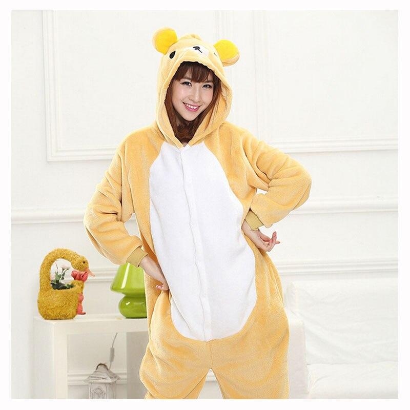 0230025598 Rilakkuma de pijama Onesie adultos mujeres oso Cosplay traje de las niñas  invierno cálido suave franela de manga larga con sombrero ropa de dormir en  de en ...