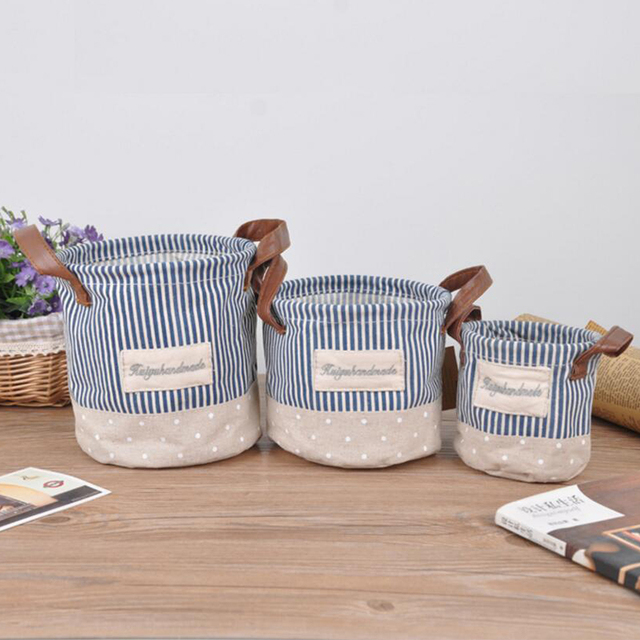 Cute Small Blue Stripe Waterproof Clothes Laundry Basket Hamper Foldable Cotton Linen Sundries Toys Cosmetic