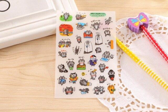 ¡Envío gratis! ¡1 lote = 20 unidades (120 unidades)! Pegatina para móvil de PVC DIY con Gato bonito/pegatinas decorativas de papelería para diario de dibujos animados