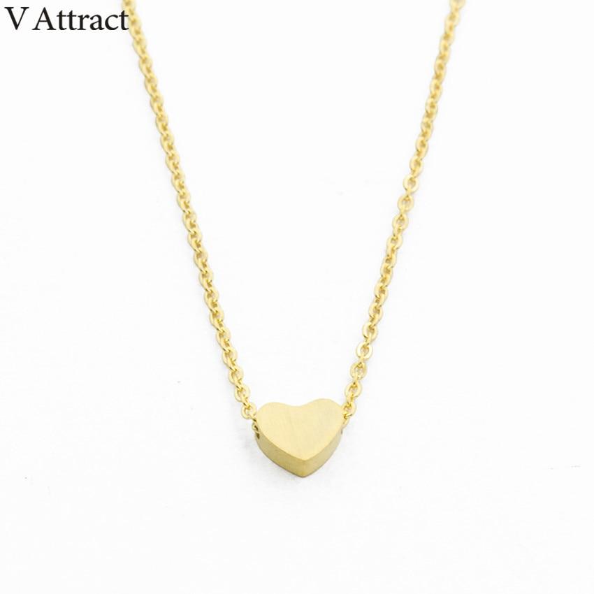 V Attract BFF ոսկերչական իրեր Չժանգոտվող պողպատից շղթայով պզուկներ ունեցող կանանց վզնոցներ Կանանց 2018 վարդ ոսկե կաթնաշաքարով անպիտ փոքրիկ սրտի ձևավորված կախազարդ