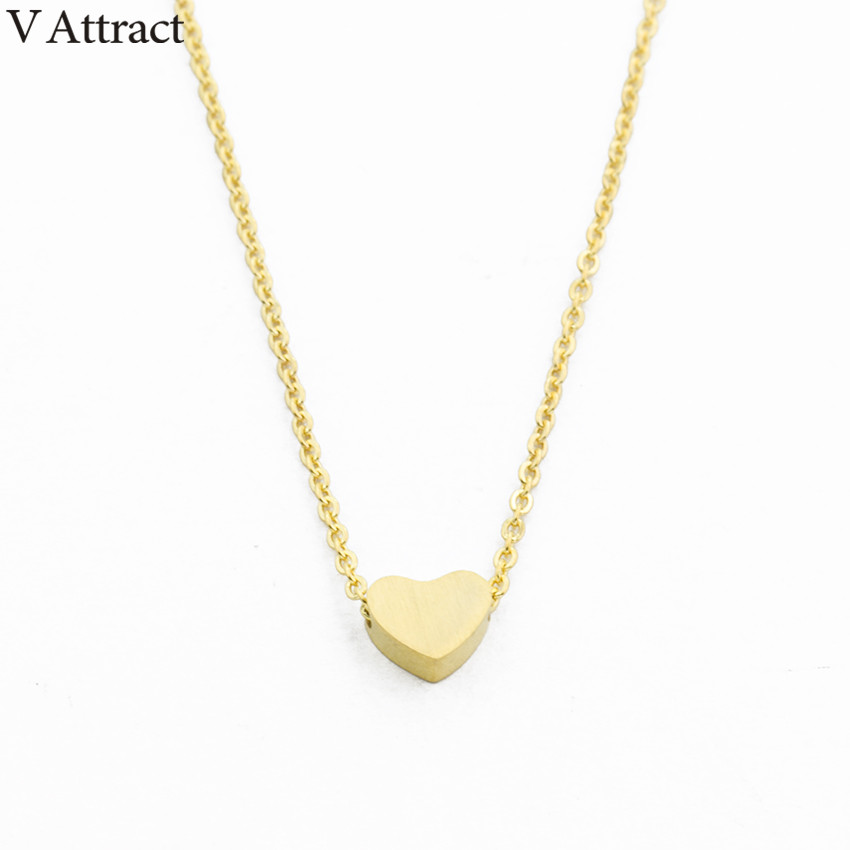 V Attract <font><b>BFF</b></font> Jewelry Stainless Steel Chain Choker Necklaces Women 2018 Rose Gold <font><b>Ketting</b></font> Dainty Tiny Heart Shaped Pendants image