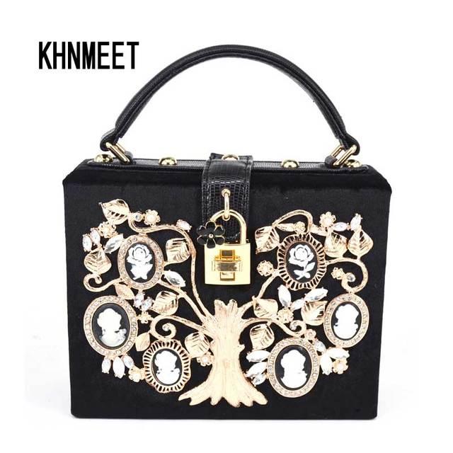 Fashion Black Velvet Women Handbags Gold Money Tree White Flower Box Flap  Shoulder Bag with Strap Ladies Mini Tote Bag