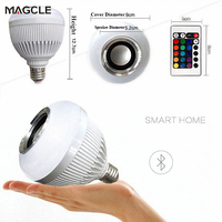 Smart RGBW Wireless Bluetooth Speaker Bulb Music Playing 12W LED Bulb Light Lamp For IPhone 7