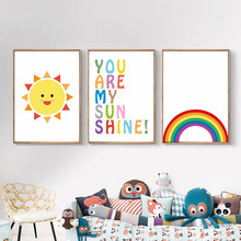 Cartoon Canvas Painting Baby Poster Cute Rainbow Picture Wall Nordic Kids Poster Nursery Posters And Prints Kids Room Unframed posters and prints kids room cartoon rabbit paintings wall decor picture poster nursery wall art nordic poster pink unframed