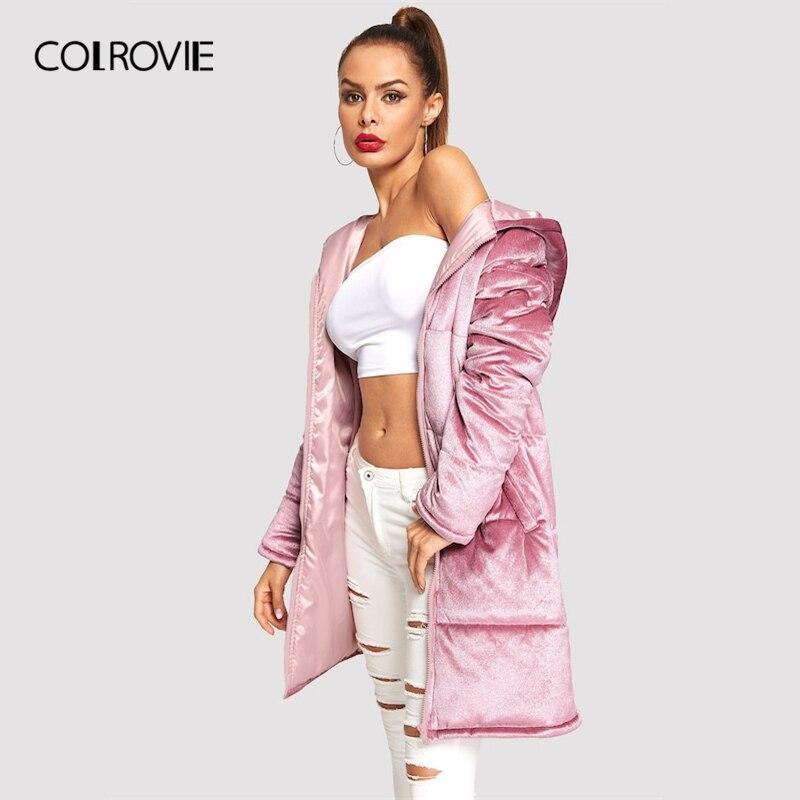 COLROVIE Pink Solid Zip Up Hooded Velvet Puffer Elegant Winter Long Coat Women Clothes 2019 Casual