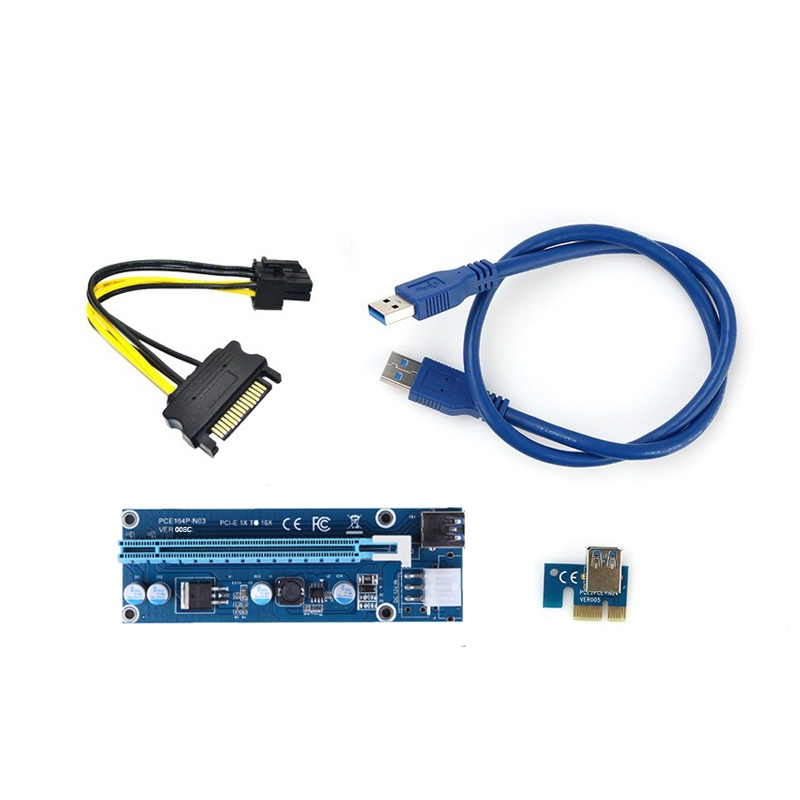 Pci-e PCI Express 1X a 16X Riser Card + USB 3.0 cable extender SATA 15 Pin-6Pin cable 60 CM para la minería bitcoin minero