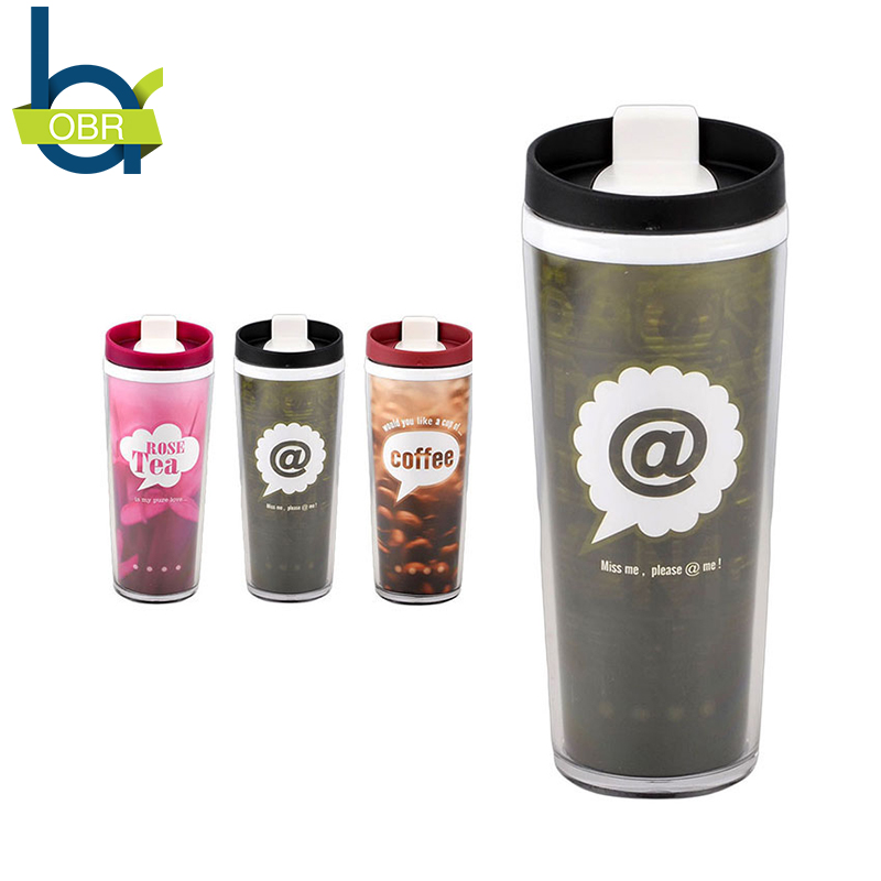 OBR Plastic Fashion Mood Coffee Mugs with Lid 3 Styles Tea Milk Cup Popular Lovers Gifts Double Wall Heat-Proof Drinkware Mug