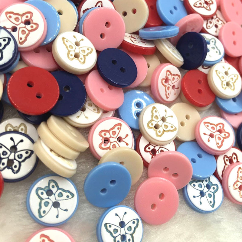 10/50/100pcs 12mm Mix Butterfly Plastic <font><b>Buttons</b></font> Scrapbooking Sewing Craft PT128 image