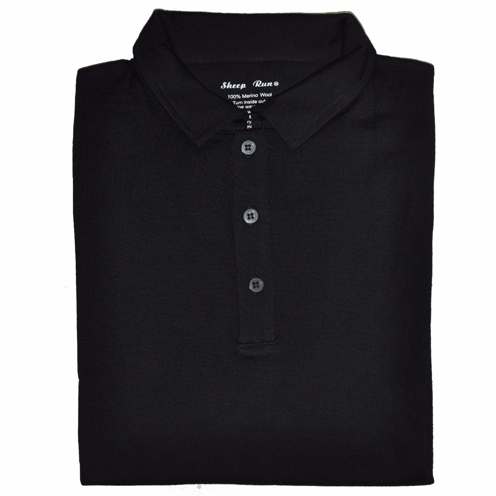 eedcdc6cb Men's 100% New Merino Wool Short Sleeve POLO Shirt 2 Color Out Door  Lightweight Tee Lapel Turn down V Collar Button -in Polo from Men's  Clothing on ...