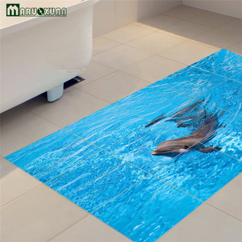 Maruoxuan New Floor Stickers Dolphin Decorative Stickers Bedroom Bathroom Kitchen Twill Film Waterproof PVC Wall Stickers