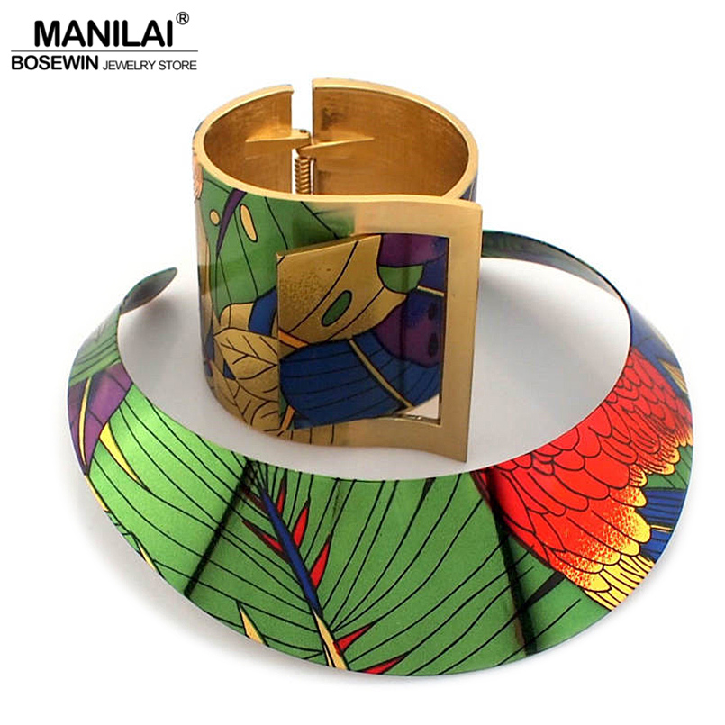 MANILAI Trendy Country Style Multicolor Painting Torques Cuff Bracelet Bangles Necklace Sets Women Indian Statement Jewelry trendy christmas style elk shape cuff ring for women