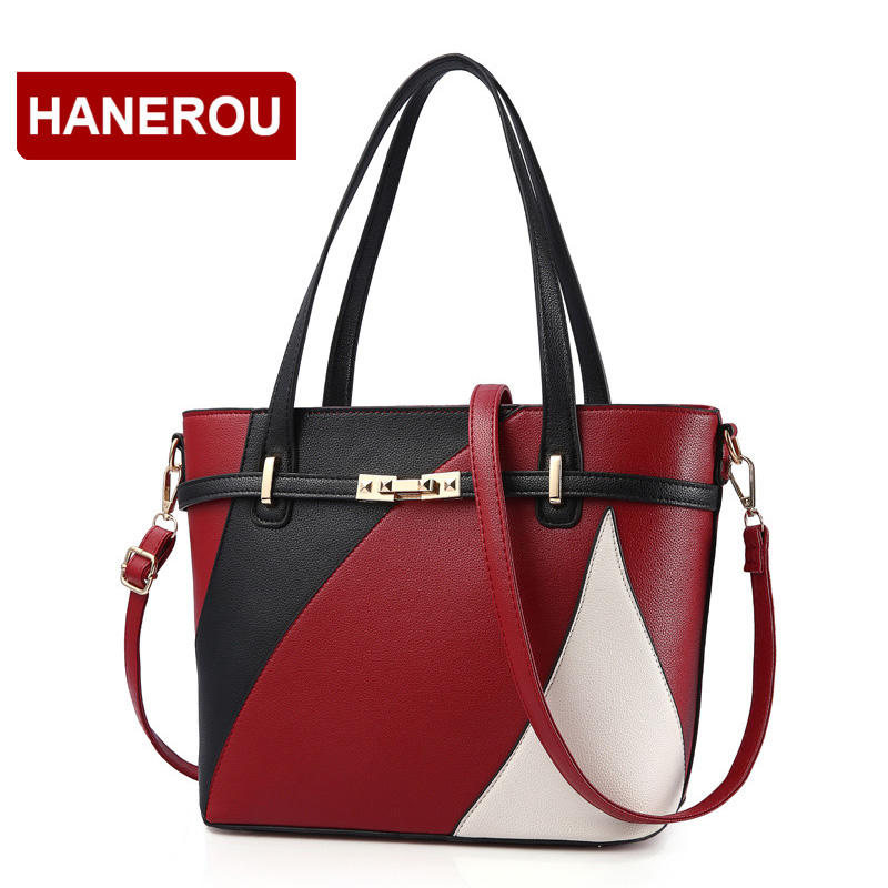 Women Leather Handbags Shoulder Bag Women's Casual Tote Bag Female Patchwork Handbags High Quality Sac a Main Ladies Hand Bags new women leather handbags shoulder bag women s casual tote bag female patchwork handbags high quality main ladies hand bags