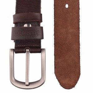 Image 4 - 2017 Mới, thắt lưng nam da bò đầu Full hạt thật 100% chính hãng da bò da quần jean mềm dây TM050