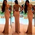 Venta caliente Sexy V Cuello de La Sirena Vestido de Fiesta 2016 de Largo brillantes Vestidos de Baile de Las Lentejuelas Con Cuentas vestido de noche Vestido De Fiesta Para de graduación