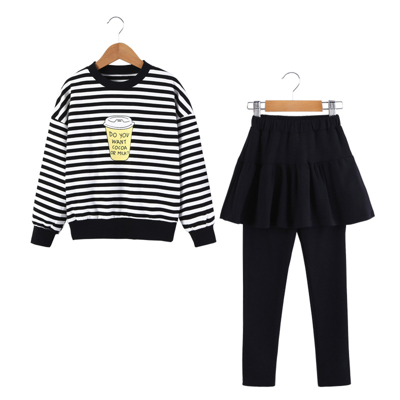 Spring Autumn Children Clothing Sets Boys Girls Long Sleeve Striped T Shirt +Pants Kids Clothes Sports Suit for Girls CC933 kids clothes sets wholesale spring and autumn boys sports leisure suit t shirt hoodie long pants free shipping in stock