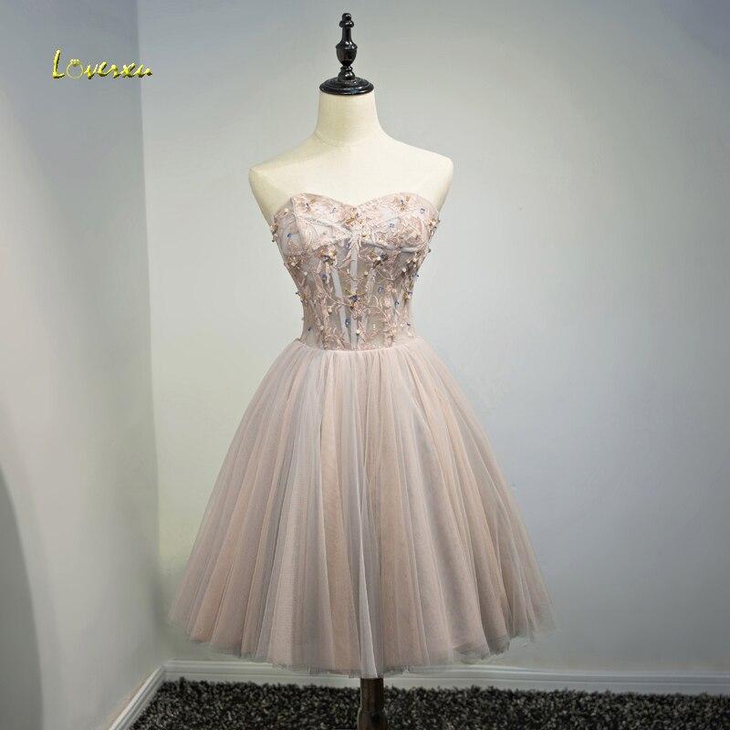 Loverxu Romantic Strapless Appliques Short Party Gown Lace Up Cocktail Dress  2018 Chic Beaded Formal Graduation Dress Plus Size