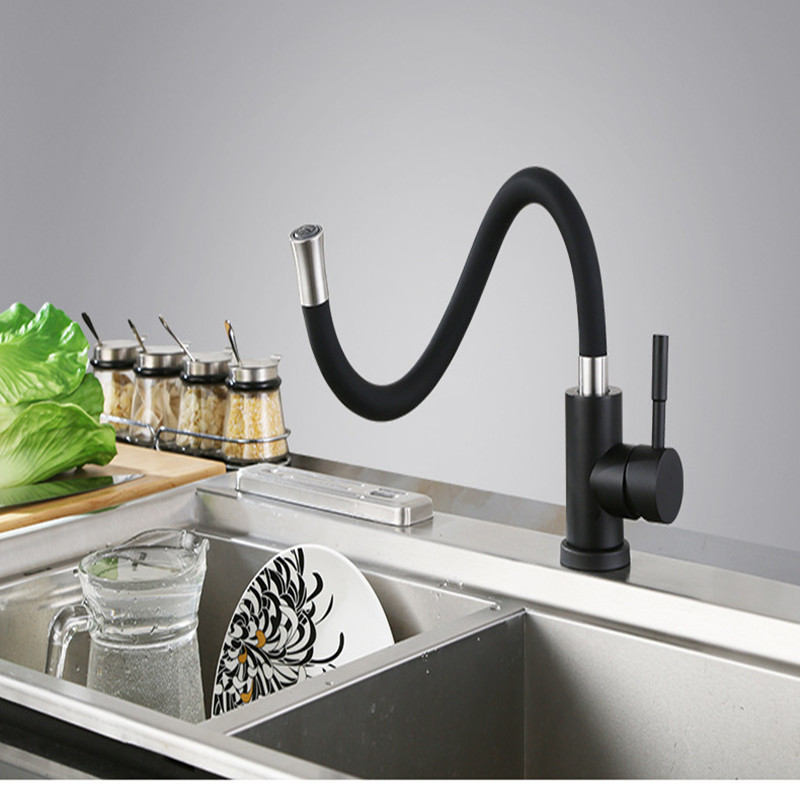 Нержавеющаясталь Universial поворотный гибкий Кухня кран Pull Down Раковина Нажмите Одной ручкой горячей и холодной воды
