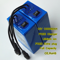 12V 10000MAH LiPo Rechargeable Power Source 3AH Lithium ion Batteries Pack with Free Charger and Extra plug