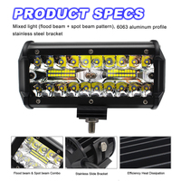 2X 7 Inch LED Bar LED Work Light Bar for Driving Boat Offroad Car Tractor Truck 4WD SUV ATV 12V 24V Rated 240W 16000LM