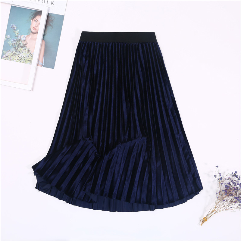 Женская винтажная осенне-зимняя бархатная юбка с высокой талией, элегантные сексуальные обтягивающие черные плиссированные юбки, женские макси юбки, женские s - Цвет: 3 Navy Blue