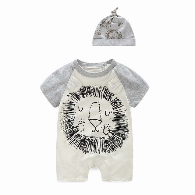 8ead09909e2 2017 Summer Style Baby Rompers Baby Girls Clothes Cotton Cute Cartoon Lion Romper  Newborn Jumpsuits Ropa Bebes Baby Boy Clothing