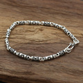S925 silver jewelry wholesale Korean Silver Star with a retro Carved Silver Bracelet and bamboo tube