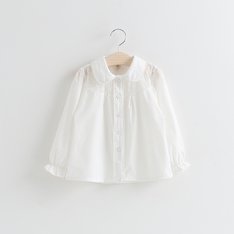 Girls Blouses Shirts For School 2018 New Solid White Kids Tops Clothing Casual Turn-down Collars Teenager Children Clothes Bs053