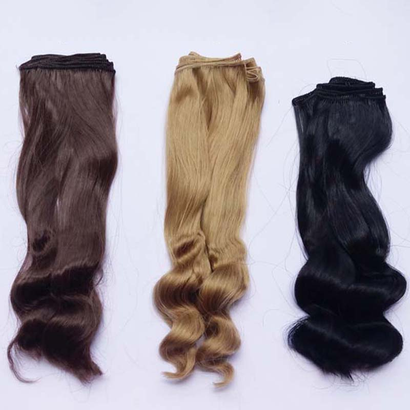 1PCS / LOT Retail Ny Ankomst 25CM Syntetisk Doll Hår DIY Brun Blond Curly BJD Wig Hair