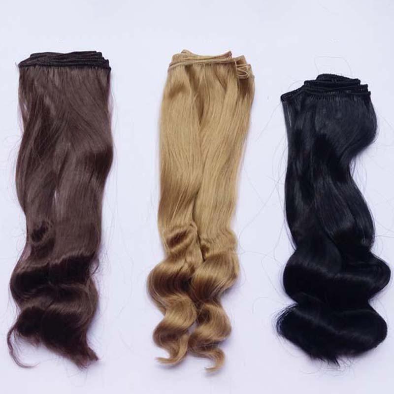 1PCS / LOT kiskereskedelmi új érkezés 25M szintetikus baba haj DIY barna szőke göndör BJD paróka haj