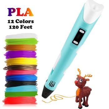 Dikale 3D pióro do dekorowania DIY 3D długopis ołówek 3D pióro do rysowania Stift PLA Filament dla Kid edukacja dzieci kreatywne zabawki urodziny prezenty tanie i dobre opinie US EU UK as you choose Blue Purple Pink Yellow as you choose 17cm 0 7mm Plastic AC100-240V~50 60HZ 12V 2A PLA ABS 12colors Random