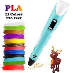 Dikale 3d caneta de impressão 12 v 3d caneta lápis 3d desenho caneta stift pla filamento para criança educação hobbies brinquedos presentes de aniversário