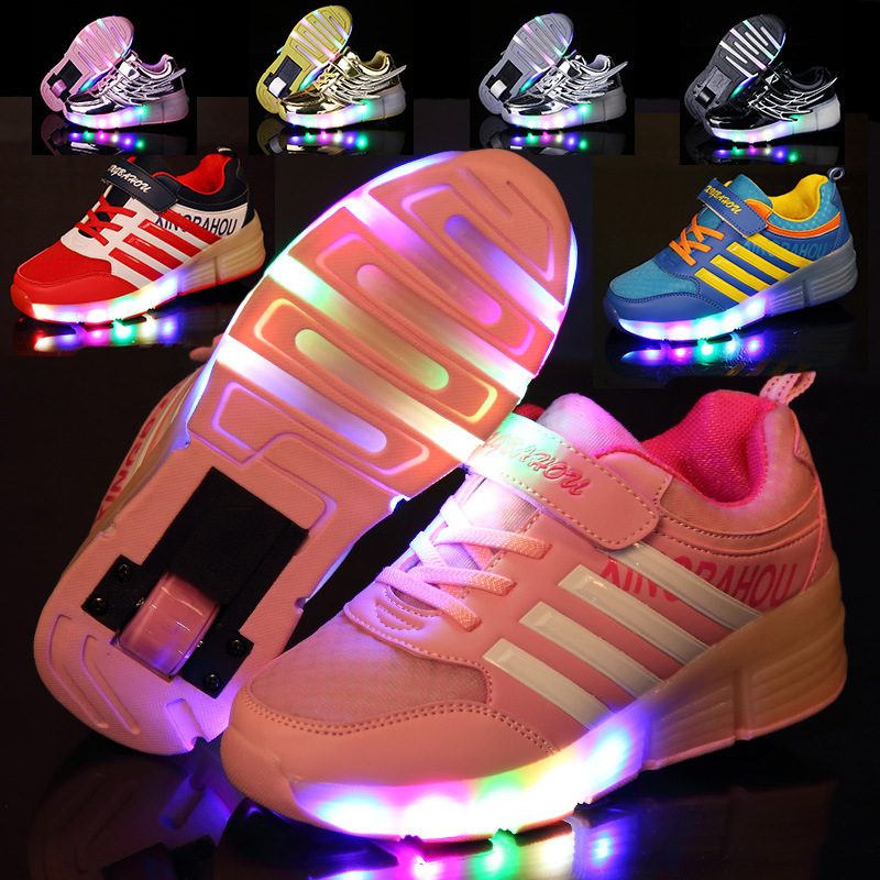 2018 Girls/Boys Child Jazzy Junior Student LED Lighted Flashing Roller Skate Sport Kids Angel Wings Sneakers With Wheels Tenis