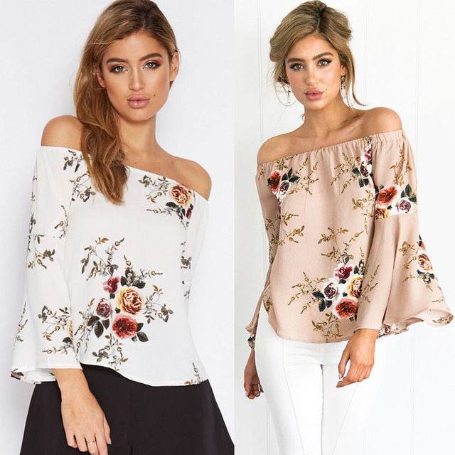 2601c4dd42fef New Arrivals Women Loose Casual Off Shoulder Blouses Shirts Ladies Girls  Floral Flare Sleeve Summer Fashion Tops Blouses