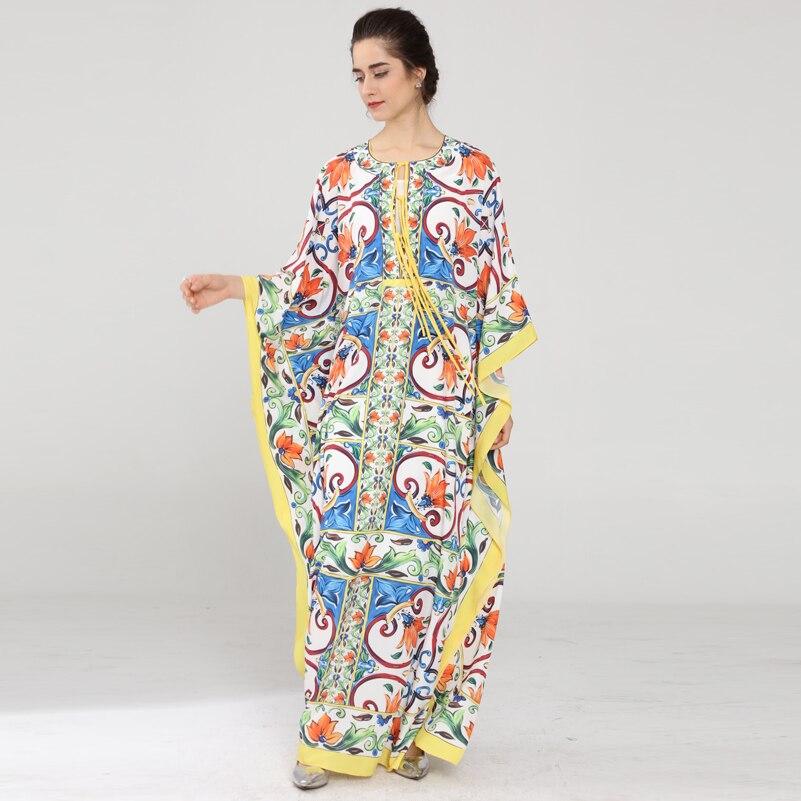 Vestido largo holgado de manga de murciélago de alta calidad para mujer nuevo diseño de pasarela con lazo estampado vacaciones Casual Maxi vestido-in Vestidos from Ropa de mujer    1