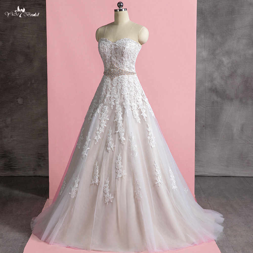 c97cd1d3101 LZ279 красочные пояса с отделкой жемчугом красивые свадебные платья  трапециевидной формы свадебное платье Праздничное платье Longo