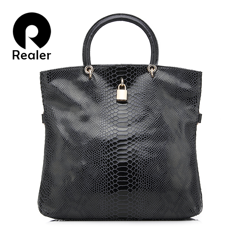 REALER genuine leather bags for women messenger shoulder bags female handbags with snake pattern designer tote bag high quality
