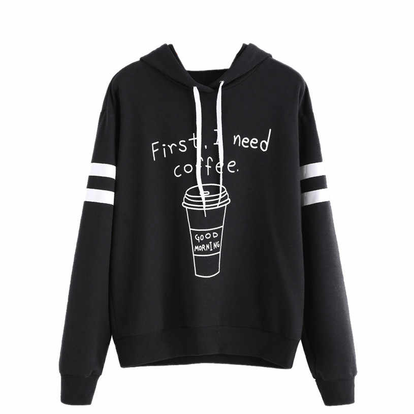 2019 #  Womens Sweatshirts Hoodies Hooded first i need coffee Letter Long Sleeve Sweatshirt Cotton Casual Jumper Pullover
